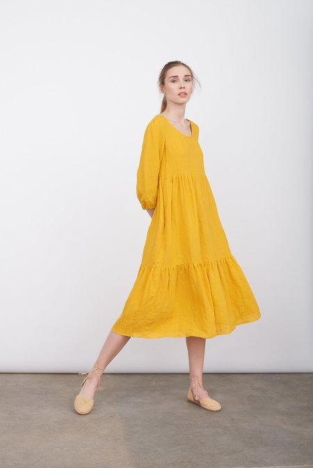 Justine Tabak Linen petticoat lane dress - saffron yellow