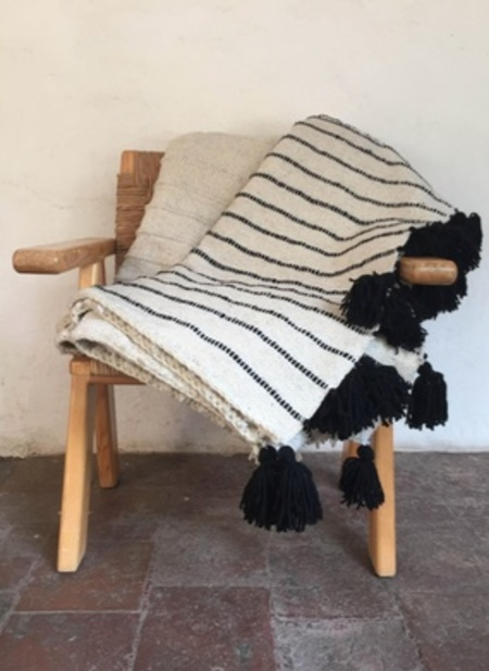 Mexchic Hand Woven Fluffy Blanket With Pom Poms  - Cream/Black