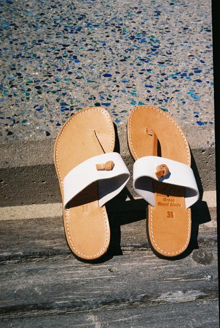 Off Season NYC Greecian Leather Knotted Thong Sandal