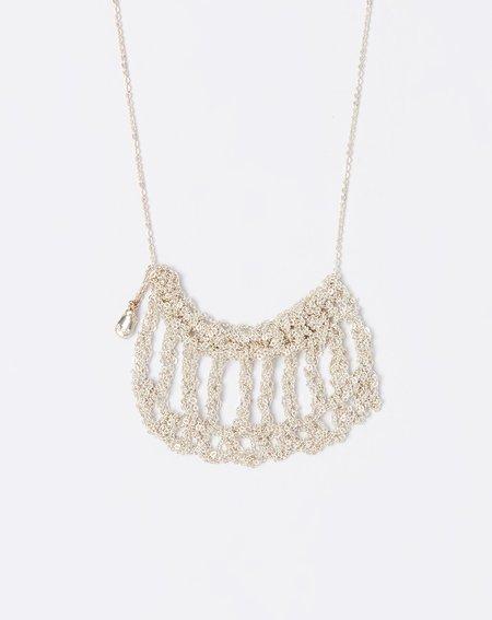 Arielle De Pinto Scallop Drop Necklace - Silver