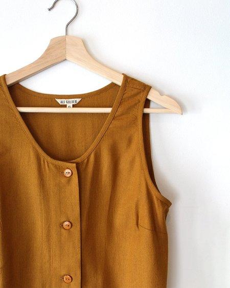 Ali Golden Button-Down Tank Midi Dress - Mustard