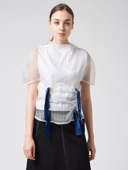 Steven Tai Circular Top - White With Navy Stripe