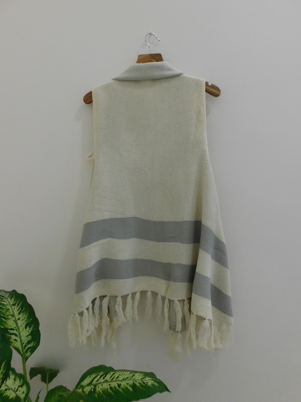 Lumiere Fringed Sweater w/ Striped Detail