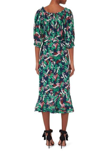 Saloni Olivia Midi Dress - GREEN