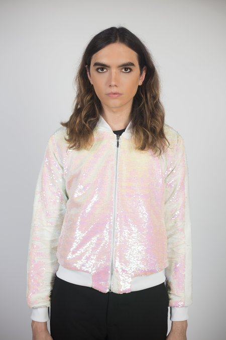 Any Old Iron Iridescent Bomber Jacket - White