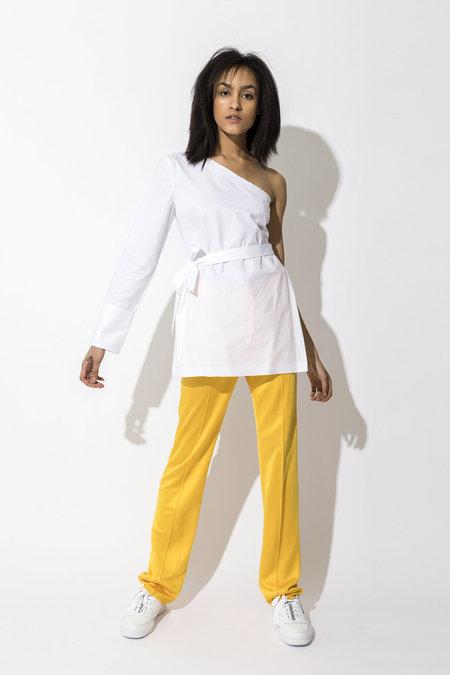 Pause. Monroe Asymmetrical Sleeve Shirt - White