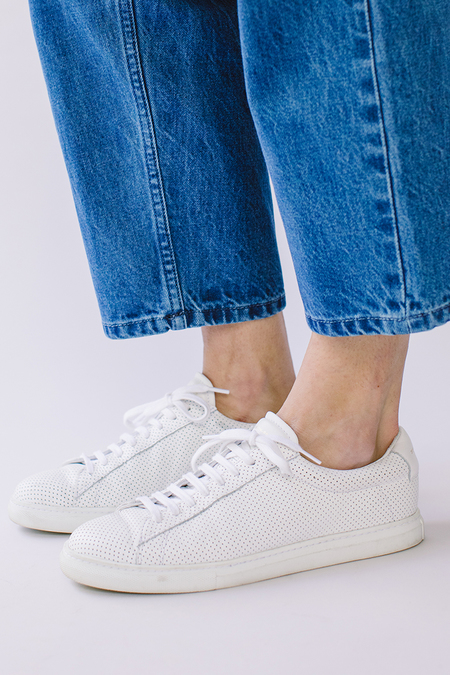 Zespà Perforated Leather Sneakers - White