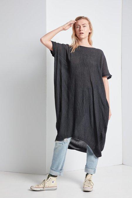 Black Crane Crape Pleated Dress