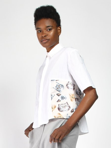 House of 950 Cats Portrait Shirt - White