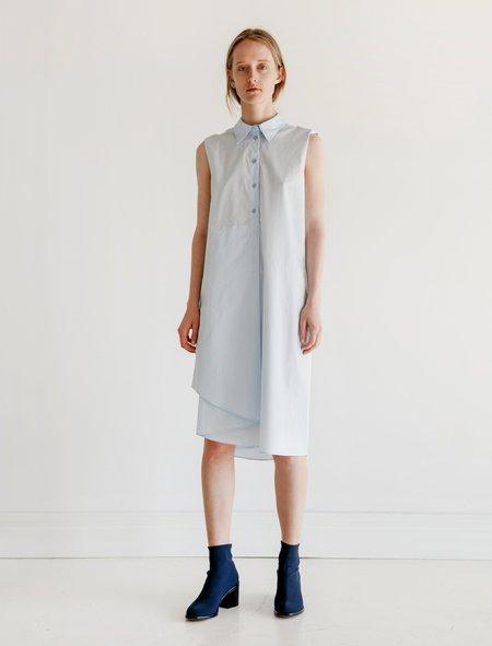 MM6 by Maison Margiela Folded Hem Dress - Pale Blue