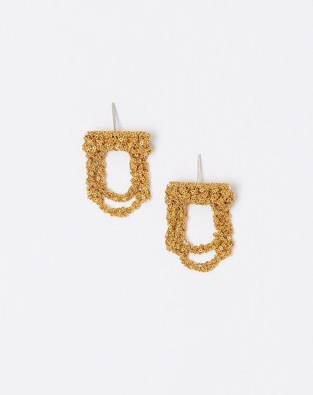 Arielle De Pinto Blackwork Earrings - Gold