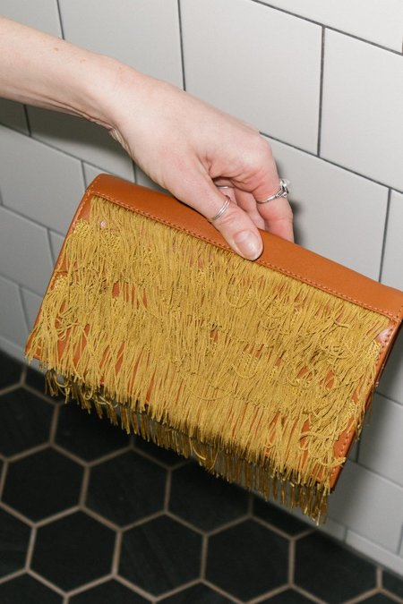 Rachel Comey Tackle Fringe Clutch - Tawny