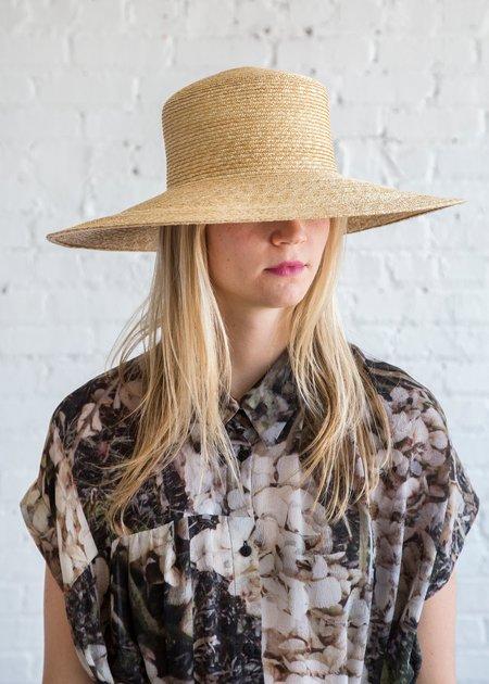Clyde Wide Brim Flat Top Hat - Natural