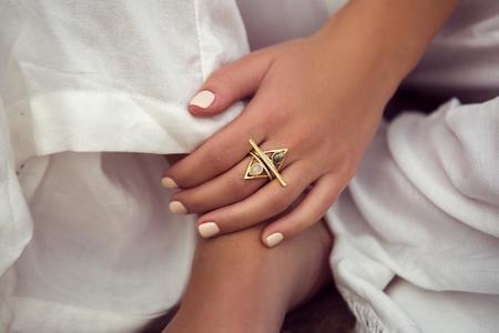Elizabeth Stone Jewelry Pave Triangle Ring - Labradorite