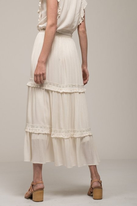 Moon River Tiered Peasant Maxi Skirt - Ivory