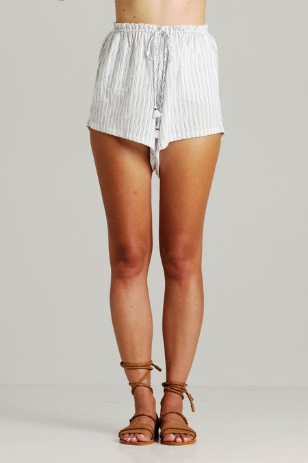 Rue Stiic ASHLEY STRIPE SLOUCH SHORTS - Black/White Stripe