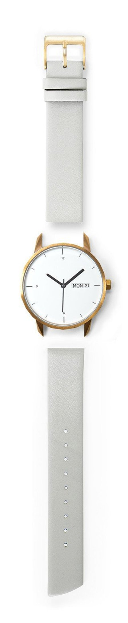 Unisex Tinker Watches 38mm Gold Watch Grey Quick-Release Strap