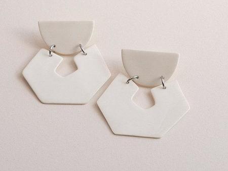 Four Eyes Ceramics Hex Earring - white