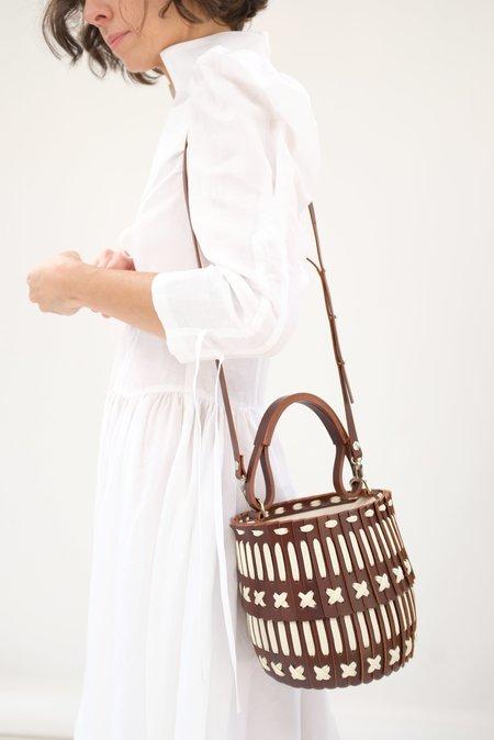 Hatori Basket Bucket Bag - Brown/Cream