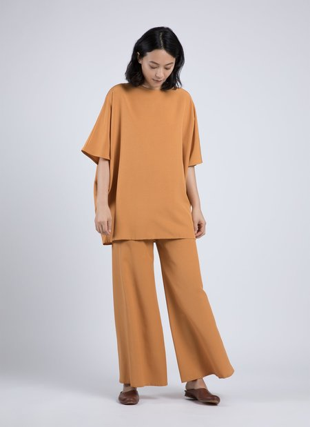 KAAREM Kite Round Neck Silk Tunic Top - Kumquat