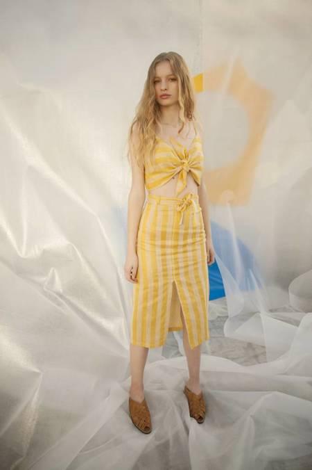 Tach Mondrian Top - Yellow Stripes