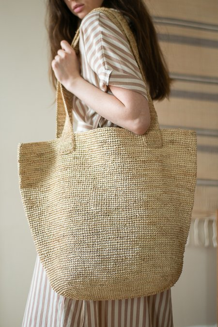 Colorant Raffia Tote - Natural