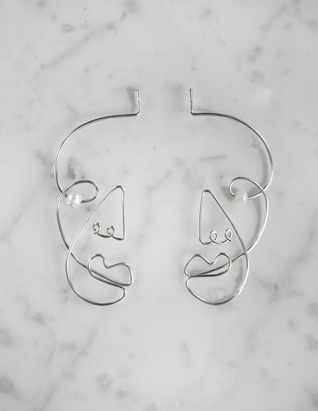 Ellipsee x Masha Reva Profile Silver Earrings With Pearl