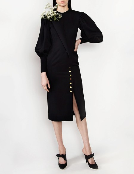 George Keburia Dress with Fabric Wrap - Black