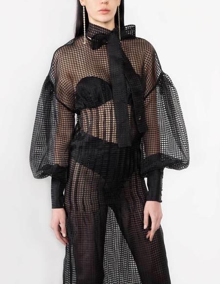 George Keburia Cotton Net Dress - Black