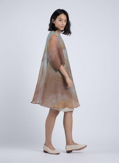 Kaarem Grain Printed Organza Silk Dress - Orange Veinstone