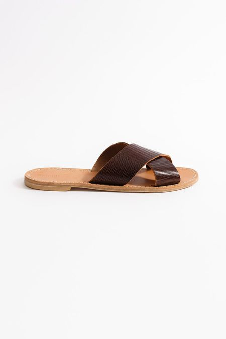 Samuji Cross Strap Sandals - DARK CHESTNUT