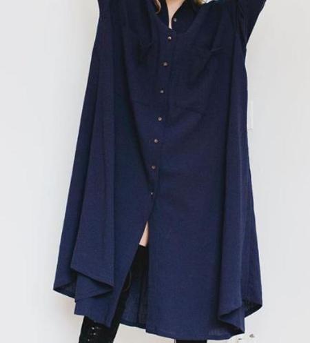 Sunja Link Shirt Dress - Navy