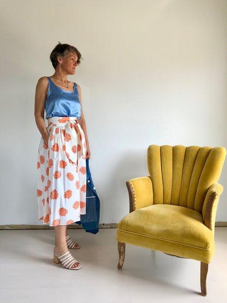 No.6 Scarlett Wrap Skirt - Cream / Rust Hydrangea