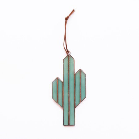 Brewer and Marr Glassworks Saguaro Cactus Sun Catcher - Light Green/Copper Patina