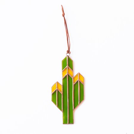 Brewer & Marr Glassworks Saguaro Cactus Sun Catcher - Yellow w/ Copper Patina