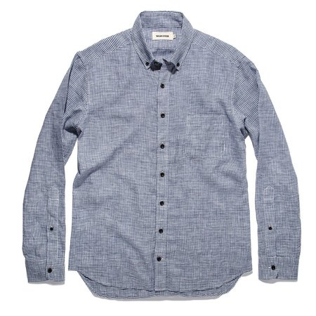 Taylor Stitch The Jack Linen Button Down - Navy Mini Gingham