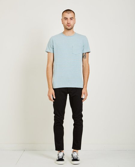 321 CREW NECK STRIPE TEE - LIGHT BLUE