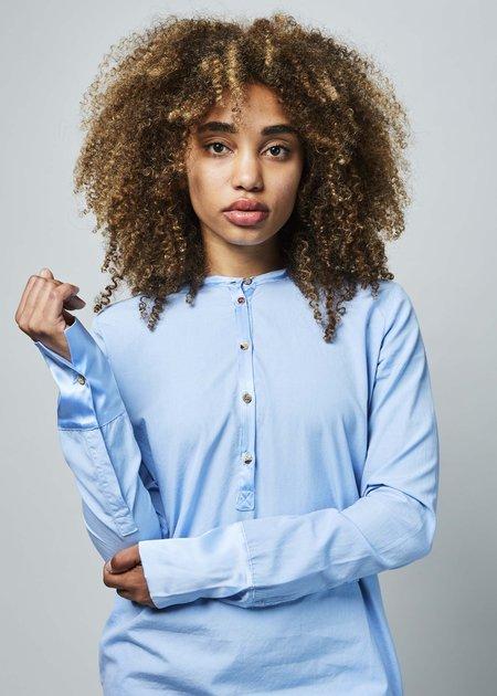 Kristensen du Nord Silk Trim Shirtdress - sky blue