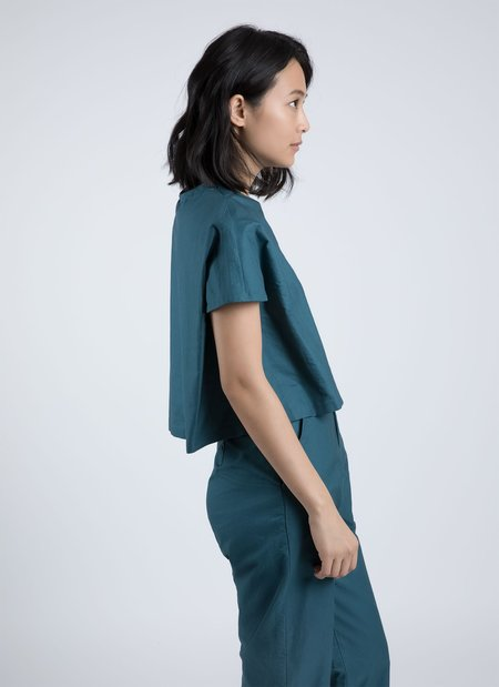 Kaarem Rosewood Dolman Pleatstay Top - Turquoise