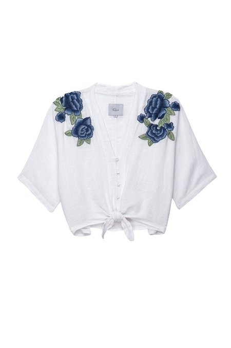 Rails Thea Blue Rose Embroidery - White
