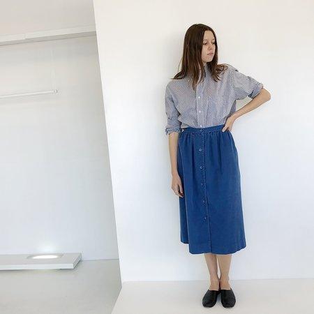 Johan Vintage Corduroy Button Down Skirt - Blue