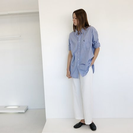 Johan Vintage Boyfriend Shirt - Light Blue Striped
