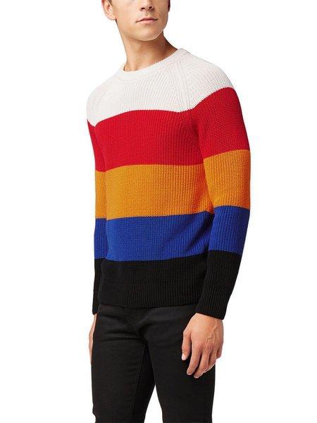 AMI Block Stripe Knit Sweater - BLACK/YELLOW