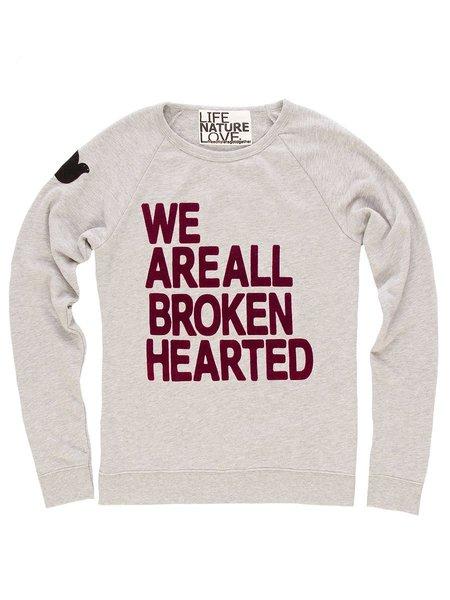 FREECITY Fuzzy We Are All Broken Hearted LNL Raglan - Heather