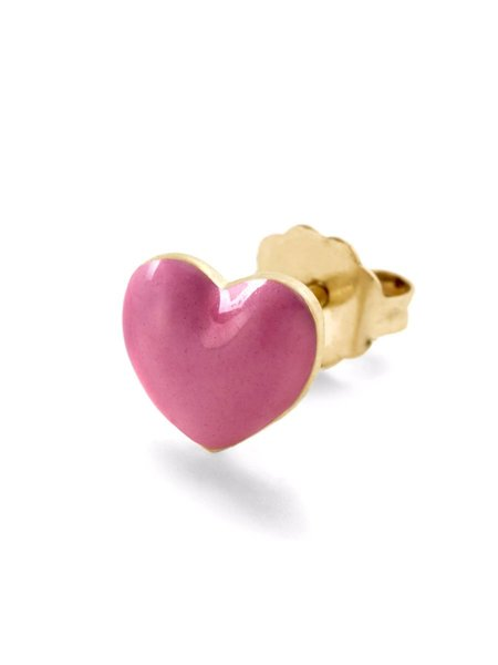 ALISON LOU Heart Stud - GOLD/PINK