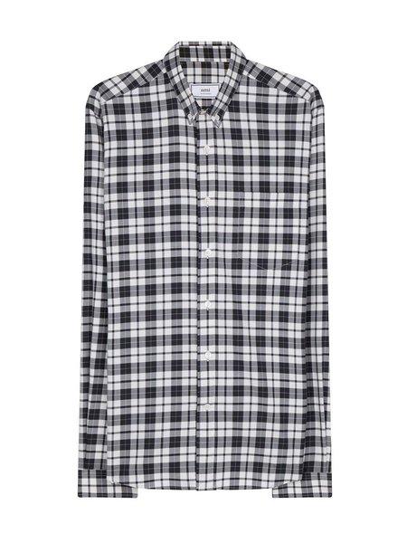 AMI Plaid Button Down Shirt - BLACK/OFF WHITE
