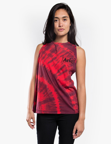 Aries Arise Twisted Tie Dye Vest - Red Navy