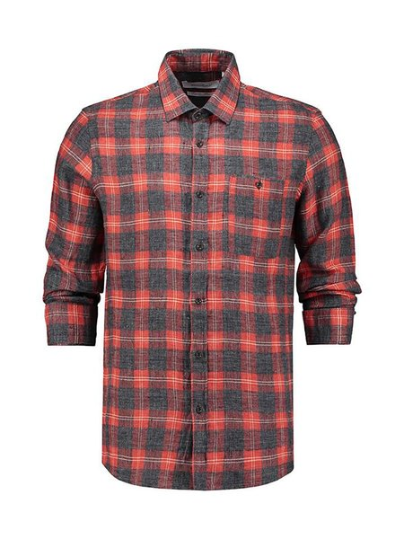 THE GOODPEOPLE Seat Linen Flannel Check Shirt - Orange