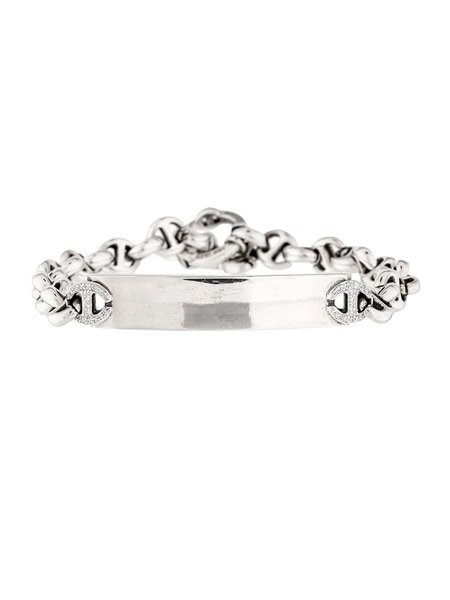 Hoorsenbuhs Sterling Silver ID Bracelet with White Diamonds