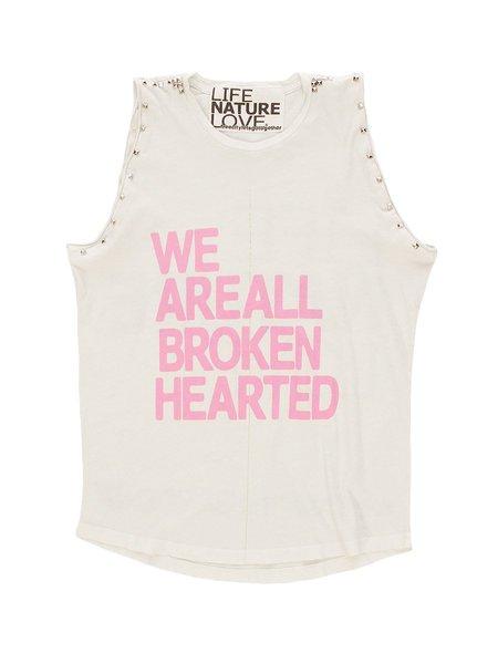 FREECITY We Are All Broken Hearted Sleeveless Stud Tee - WHITE RABBIT